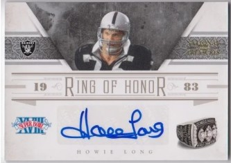2011 Playoff National Treasures Ring Of Honor Howie Long Autograph Card