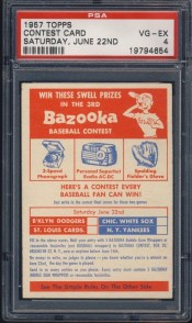 1957 Topps June 22nd Contest Card Graded PSA 6