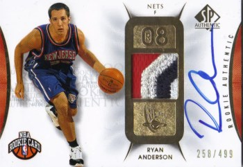 2008/09 Upper Deck SP Authentic Jersey Autograph #103 - #/499 Ryan Anderson RC Card