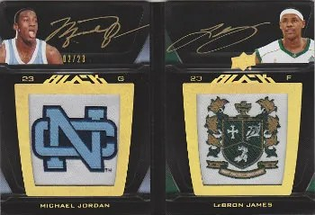 2011-12 Upper Deck Exquisite UD Black Dual Patch/Autograph Book Cards LP2-JJ Michael Jordan - LeBron James #/23