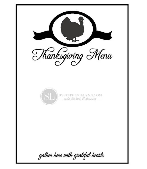thanksgiving menu template free - Ozilalmanoof