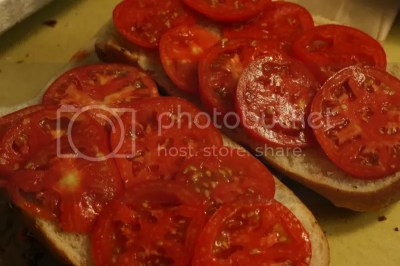 Line the thinly sliced tomatoes on the loaf.