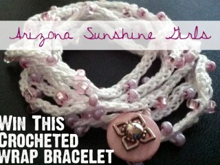 Win this pink and white crochet wrap bracelet from Arizona Sunshine Girls