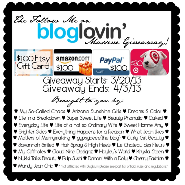 The Follow Me on Bloglovin' Massive Giveaway