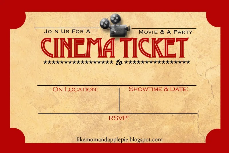 Like Mom And Apple Pie A Summer Of Movies! Free Printables! - movie invitation template free