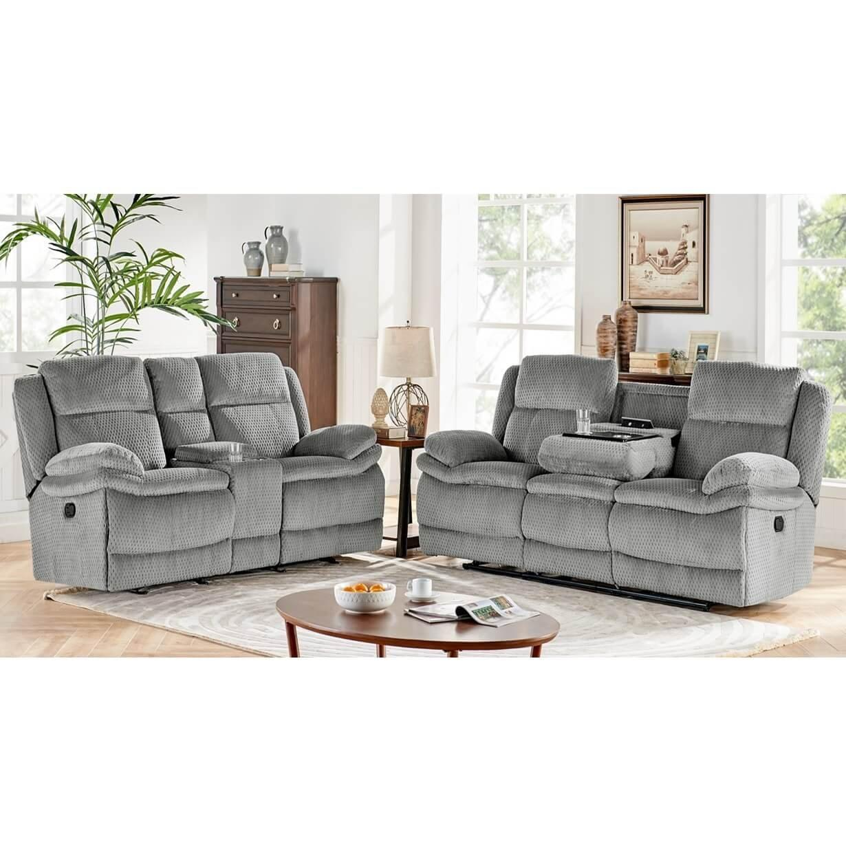 Rent To Own H317 2 Piece Smokey Reclining Sofa Reclining Console Loveseat Set At Aaron S Today