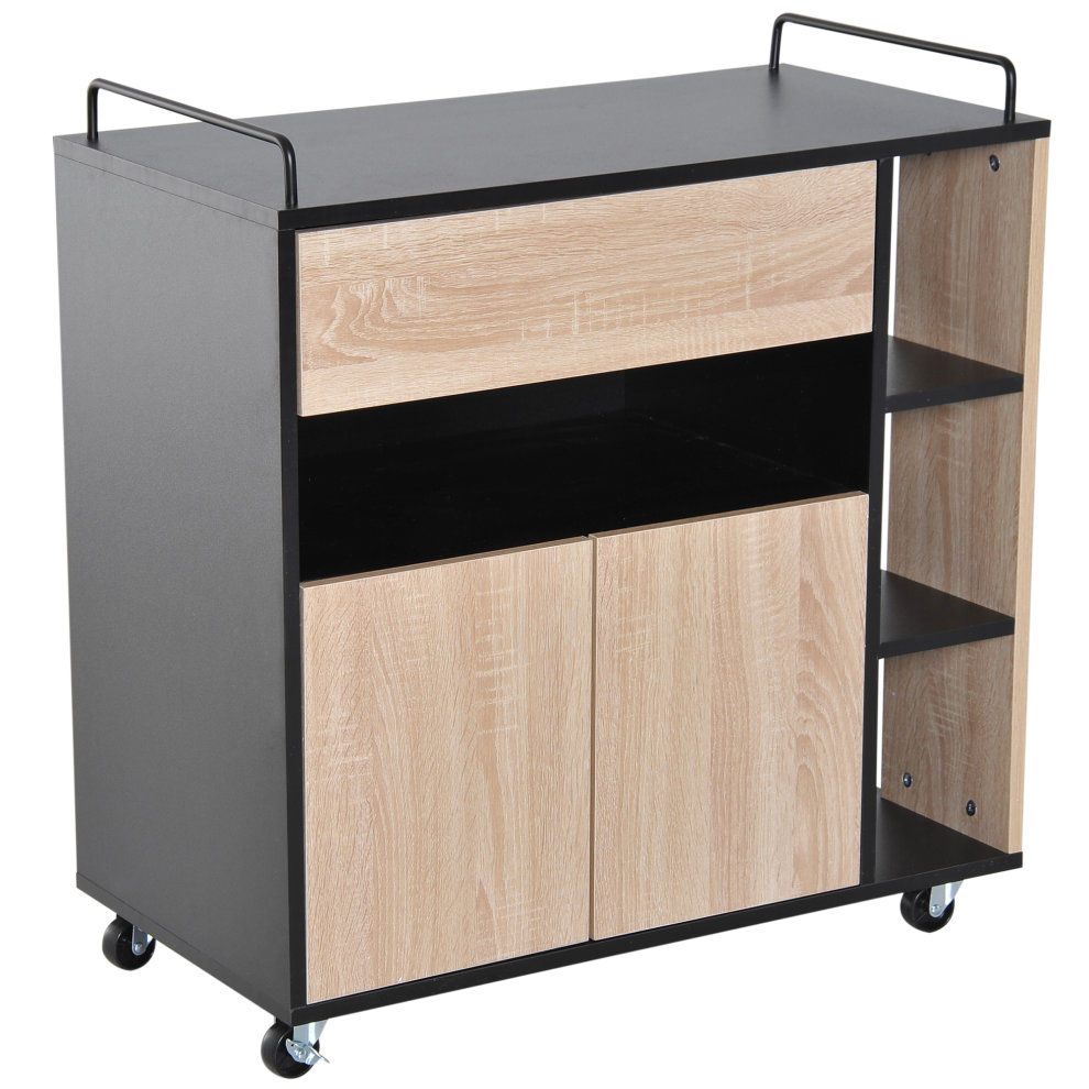 Kitchen Island With Locking Casters Homcom Rolling Kitchen Storage Trolley Cart Cupboard