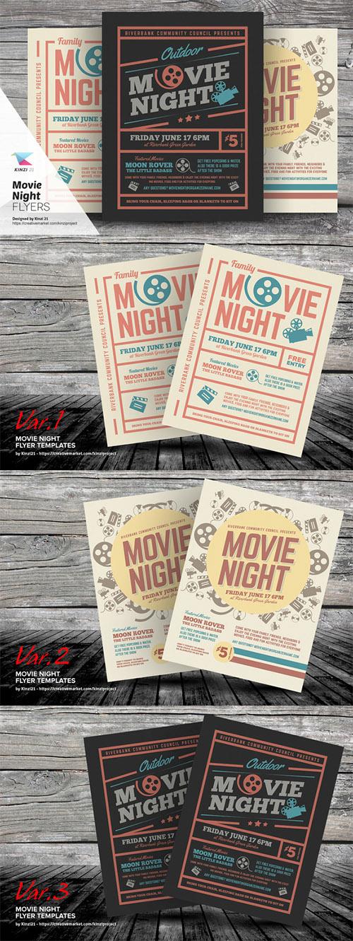 Movie Night Flyer Templates - Creativemarket 703184 » Best site for