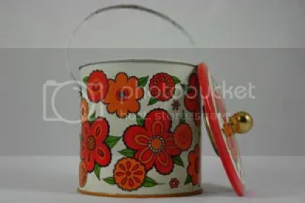 Vintage ice bucket with floral decoration