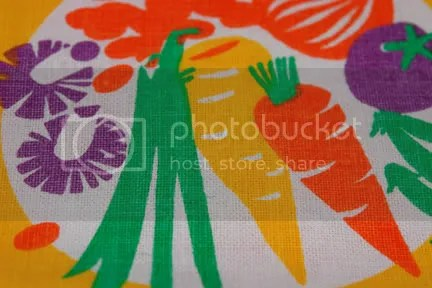 Vintage teatowel detail showing fruit &amp; vegetable illustration