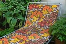 vintage 1970s floral sun lounger