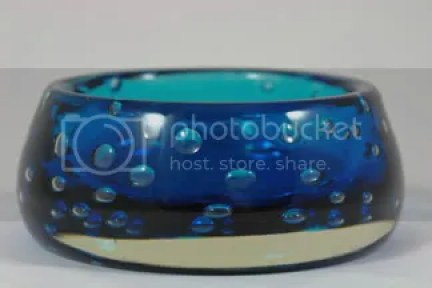 vintage blue Whitefriars glass bowl