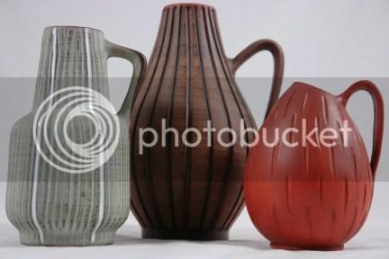 Trio of 1950s West German vases
