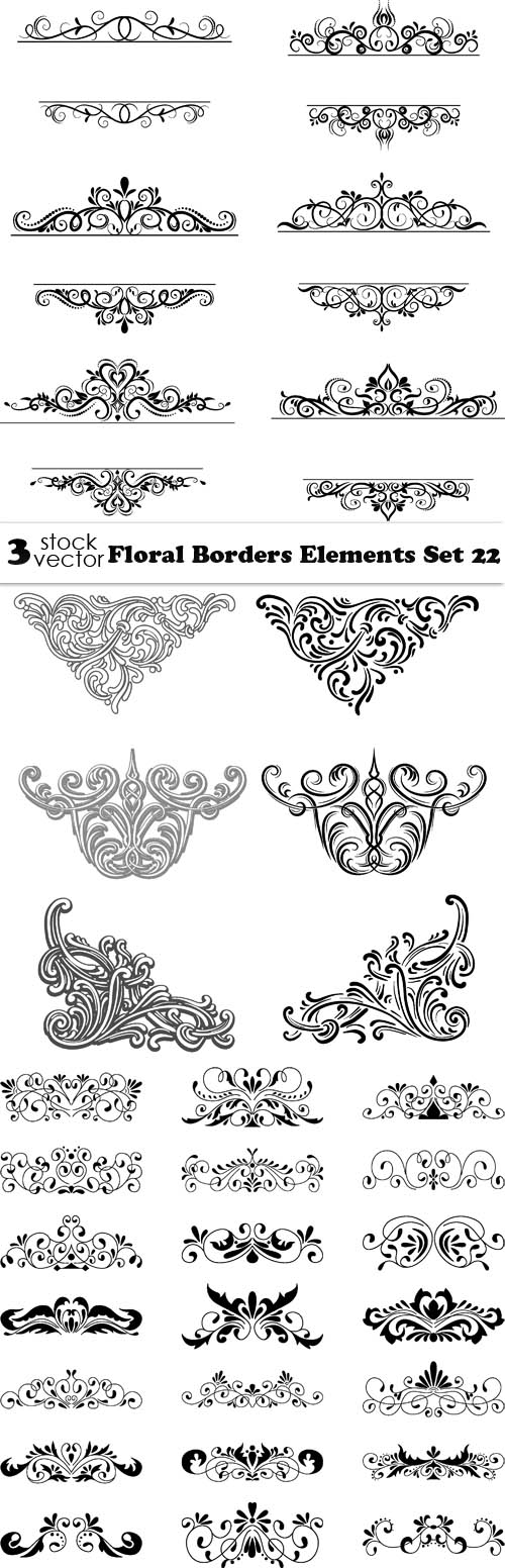 Vectors - Floral Borders Elements Set 22