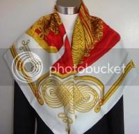 New Auth Hermes Brandebourgs Silk Shawl Scarf 35 EBay