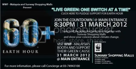 Sambutan Earth Hour 2012 di Sunway Pyramid