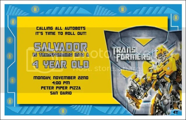 TransformersPersonalizedInvitations Party Kids Pinterest - pages invitation templates free