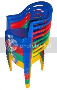 4 x Kids Children Colour Plastic Child Seat Garden Chair ...