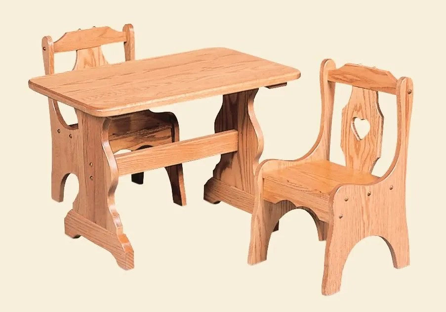 Amish Kids Table And Chairs Set Solid Wood Wooden Children