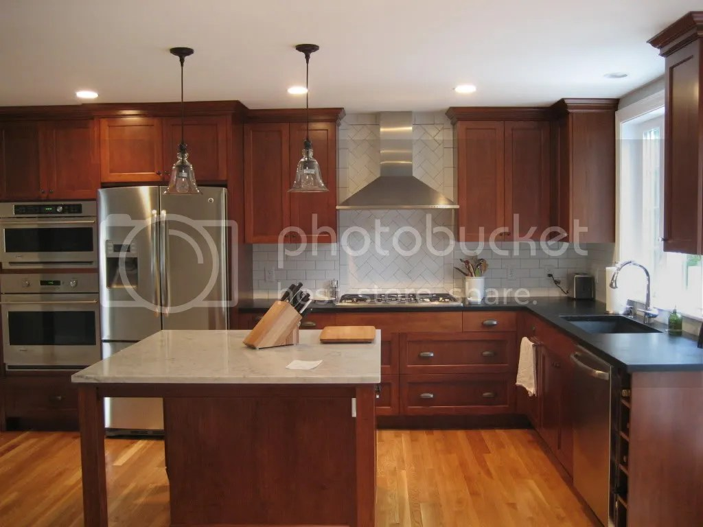 Red Kitchens With Oak Cabinets Cherry Cabinets With White Or Red Oak Floor