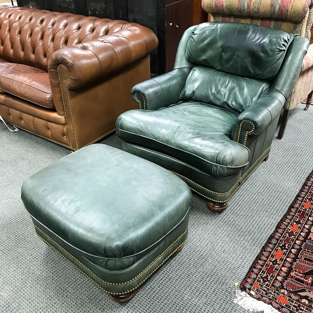 Leather Chairs And Ottomans Sale Modern Green Leather Upholstered Easy Chair And Ottoman Sale