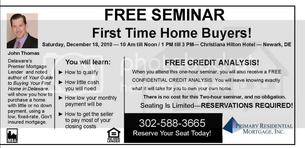 Delaware First Time Home Buyer Seminar - December 18, 2010