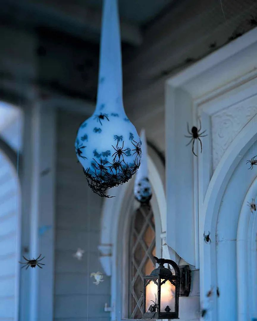 Scary halloween diy decorations spider egg sacs at martha stewart living