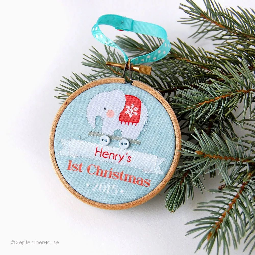 Gifts for baby s first christmas personalized embroidery hoop ornament