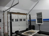 Vaulted ceiling garage door for car lift clearance The Garage
