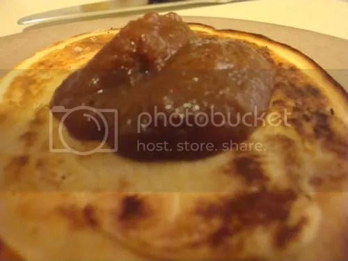 pancake topped with apple butter