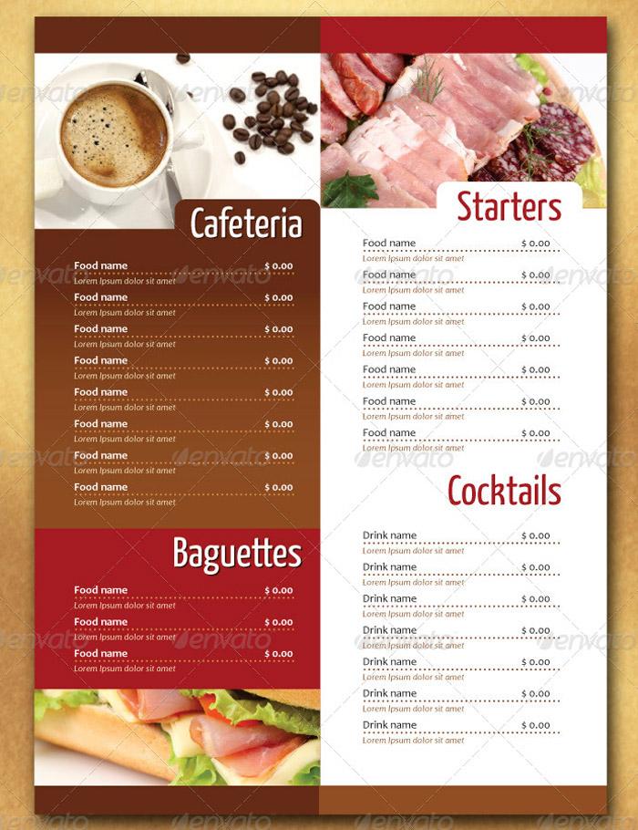 20 + Beautiful Food Menu Templates for Printing - a la carte menu template