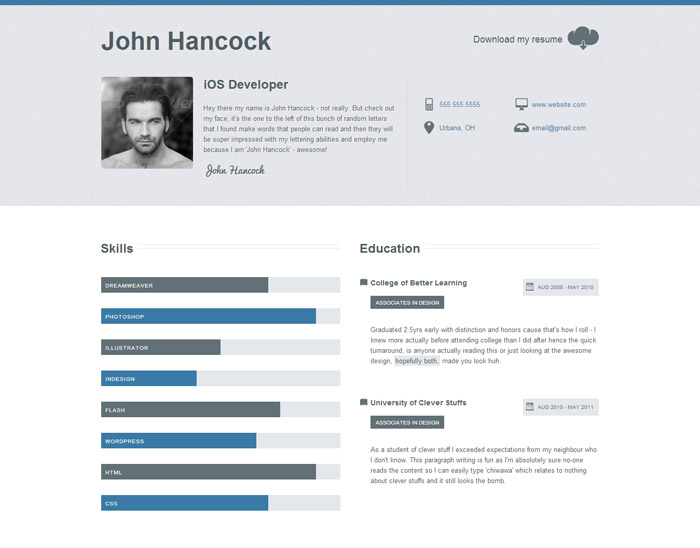 top resume websites - Onwebioinnovate - sample resume website