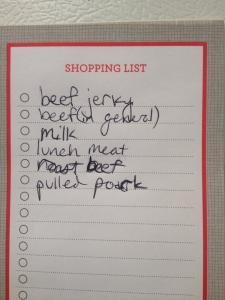 A real grocery list from our household in 2014.