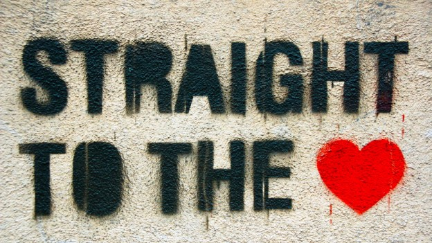 Straight to the heart graffiti.