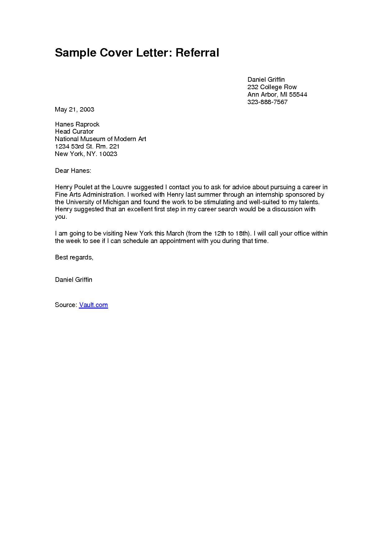 Application Letter Referred By Someone Gallery Format