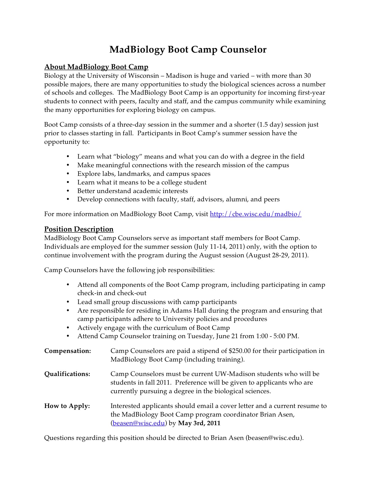 Summer day camp counselor resume sample – Camp Counselor Job Description