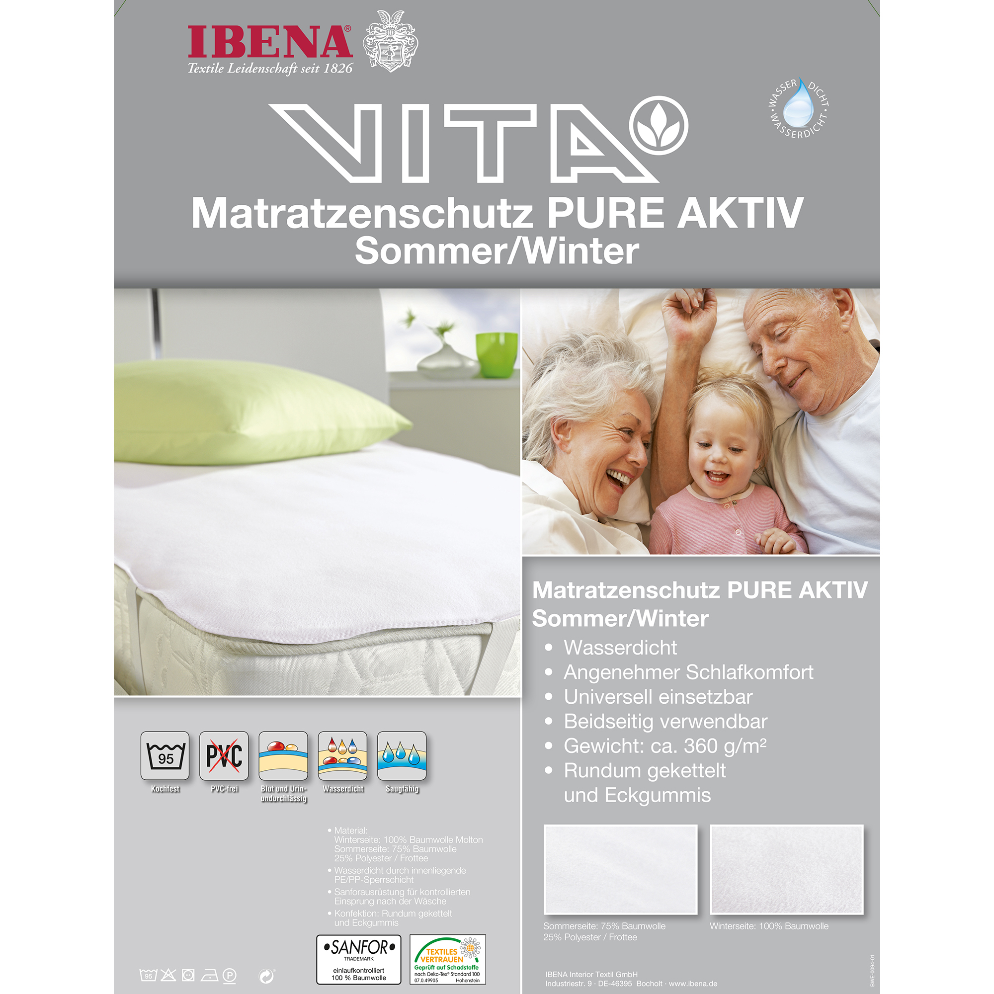 Matratzenschutz 140x200 Matress Protector Pure Active Summer Winter