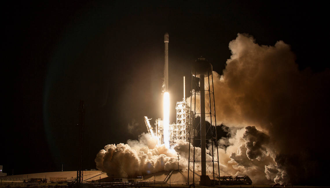 Echostar XXIII Launch 2 with IberEspacio Panels, courtesy Space X