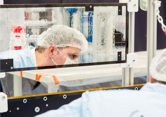 A worker involved in the production of a thermo structural panel at IberEspacio facilities