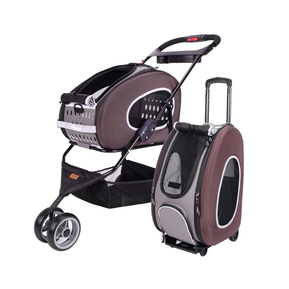 Triple Pet Stroller 5 In 1 Combo Eva Brown Pet Carrier Stroller Luxury Package