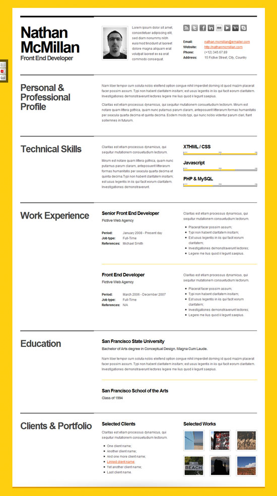 Resume Html Template Jobless Resume Html Format Premium Download