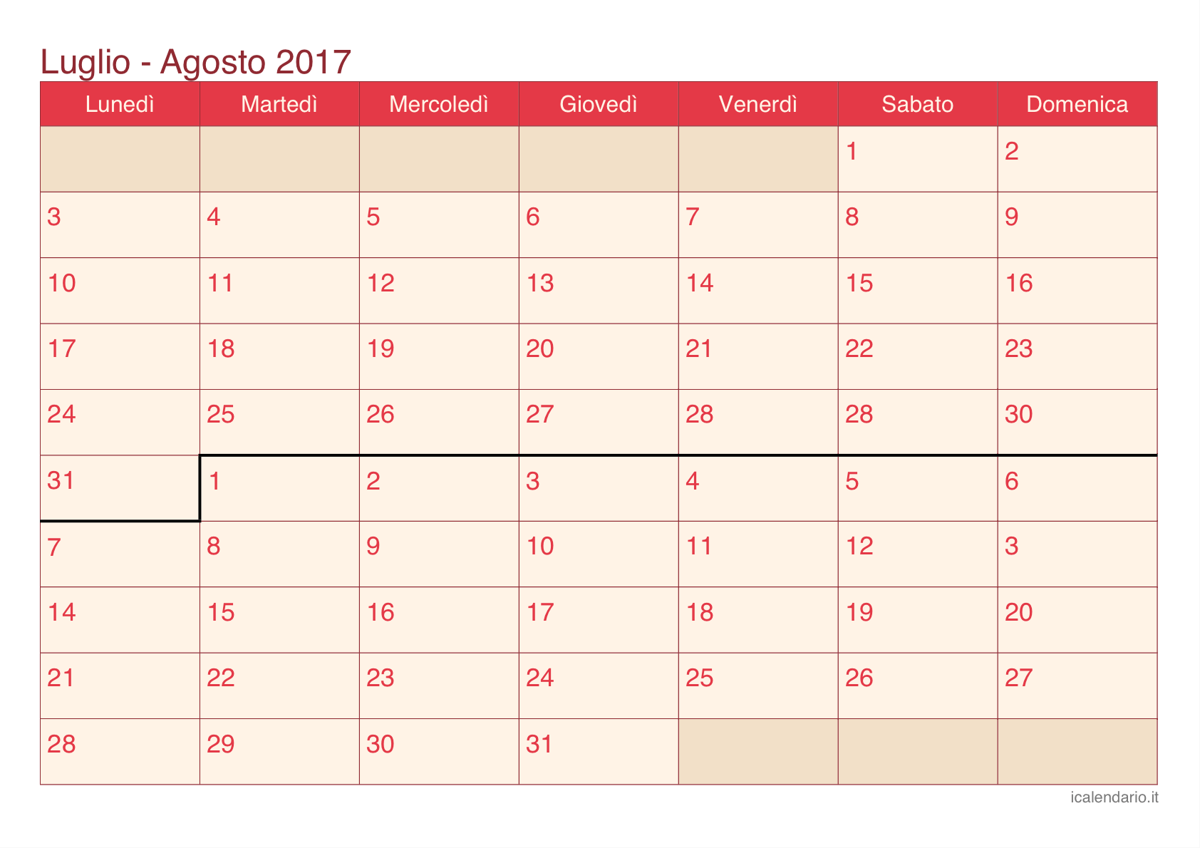Calendario Mes 2017 Excel Calendario Luglio Agosto 2017 Da Stampare Icalendario It