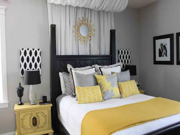 yellow and gray bedroom decorating