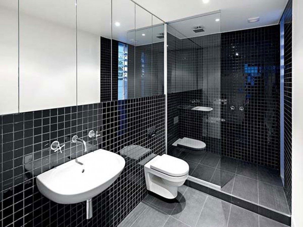 Black Tiled Bathroom Black And White Bathroom Tile Design Ideas Decor