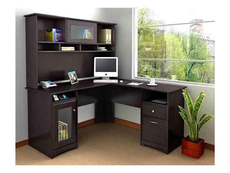Small Black Corner Desk with Hutch