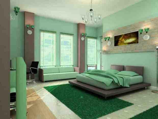 mint green bedroom walls - decor