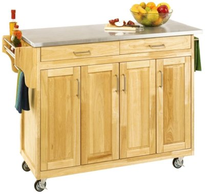 Home Styles Natural Designer Utility Cart With Stainless ...