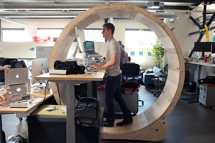 The hamster wheel desk that lets you exercise at the office - office exercise