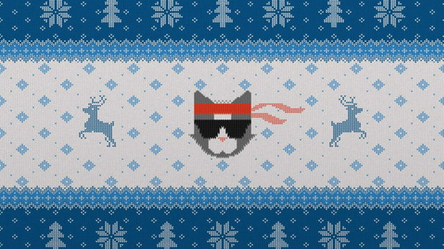 The Microsoft Ninja Cat Is Back In Holiday Escape Wallpaper