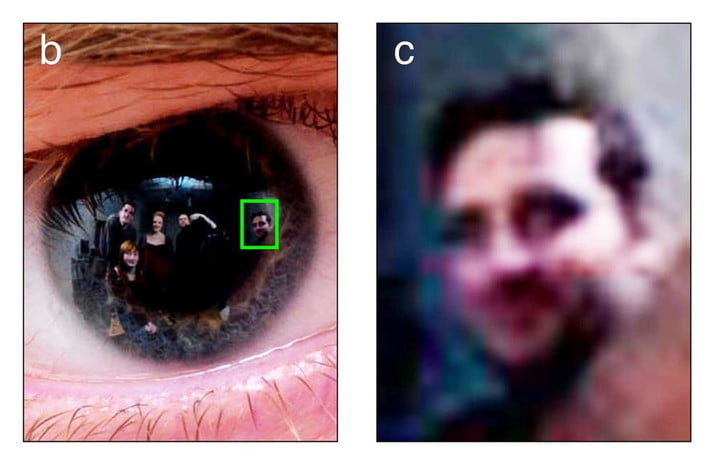 Reflection in pupil of human eye could reveal the things a person